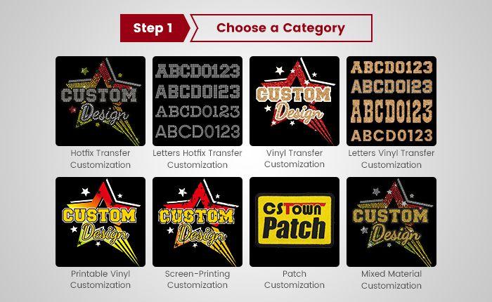 choose a category to custom