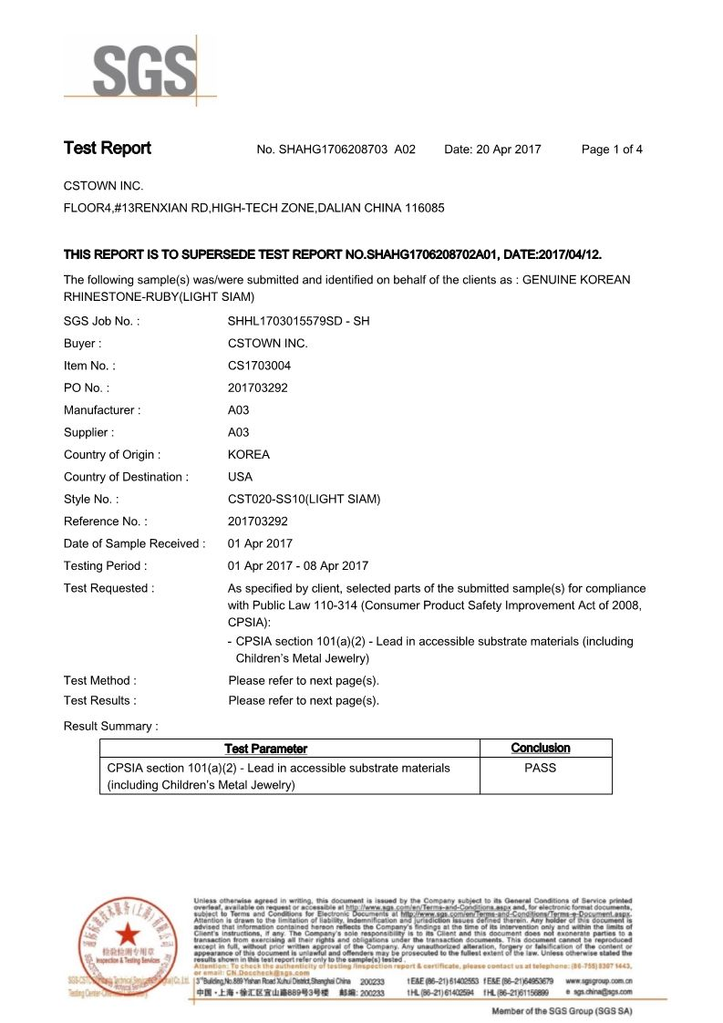 CHEMICAL TEST REPORT Korean Rhinestone 2017