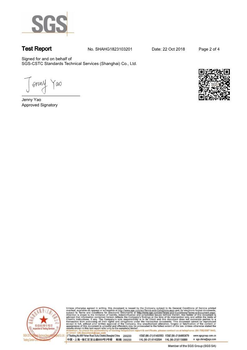 CHEMICAL TEST REPORT Korean Rhinestone 2018