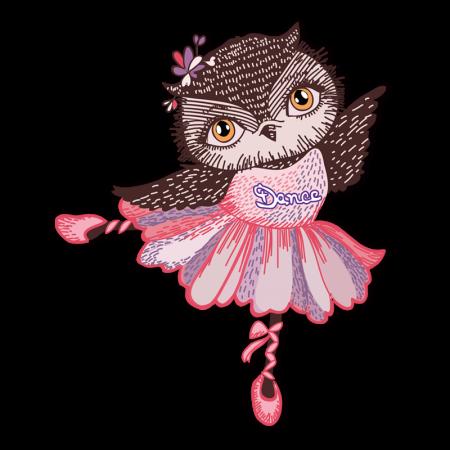 graphic regarding Printable Iron on Vinyl named Dance Owl Lovely Customized Printable Iron upon Vinyl Shift