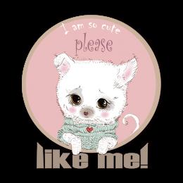 Cute Dog Please Like Me Custom Size Printed Vinyl Heat Transfer