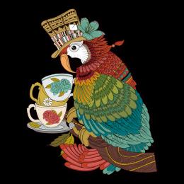 Parrot Served at Teatime Full Color Digital Printed Iron on Vinyl Transfer
