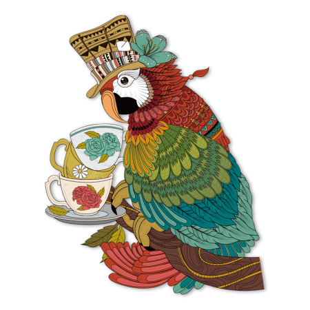 graphic regarding Printable Iron on Vinyl referred to as Parrot Helped at Teatime Complete Colour Electronic Published Iron upon