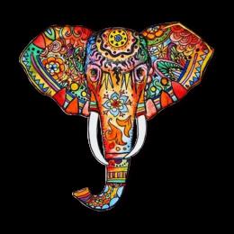Graffiti Elephant Head Full Color Digital Printed Vinyl Iron Ons for Kids