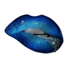 Sexy Blue Lip with Crystal Digital Printed Pattern Heat Transfer Vinyl
