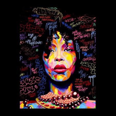 Afro Girl Multiple Color Digital Transfer