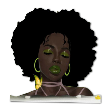 Afro Girl with Butterfly Heat Transfer Vinyl