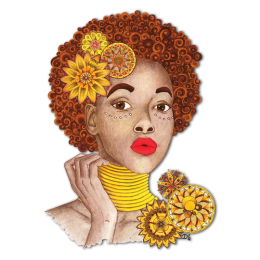 Sunflower Afro Girl Heat Transfer Vinyl
