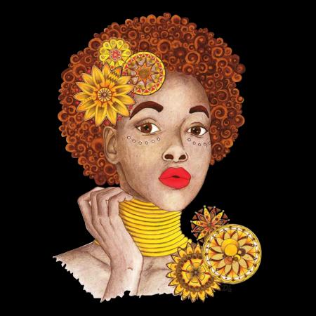 Sunflower Afro Girl Heat Transfer Vinyl