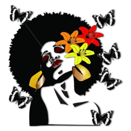 Floral Afro Girl with Butterfly Heat Transfer