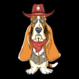 Long Ears Dog in Cowboy Hat Digital Transferred Vinyl