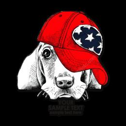 Quietly Lying Dog in Red Hat Heat Transfer Vinyl