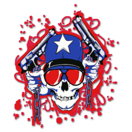 Cool Skull with Guns Fullcolor Printable Precut Transfer