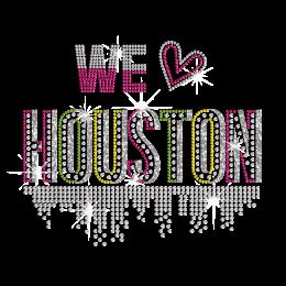 We Love Houston Hotfix Crystal Glitter Transfer