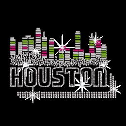 Bling Houston Hotfix Rhinestone Glitter Transfer Design