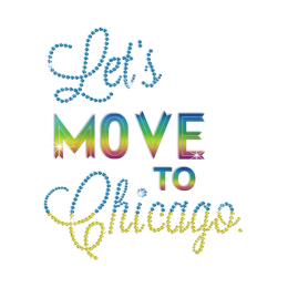 Let\'s Move to Chicago Hotfix Rhinestone Holofoil Transfer Design