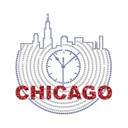 Chicago City Clock Hotfix Rhinestone Glitter Transfer