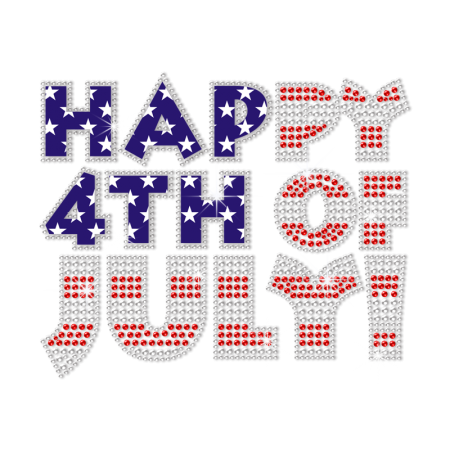 Crystal Happy 4th of July Bling Heat Transfer