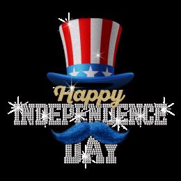 Glittering Happy Dependence Day Hat Heat Transfer