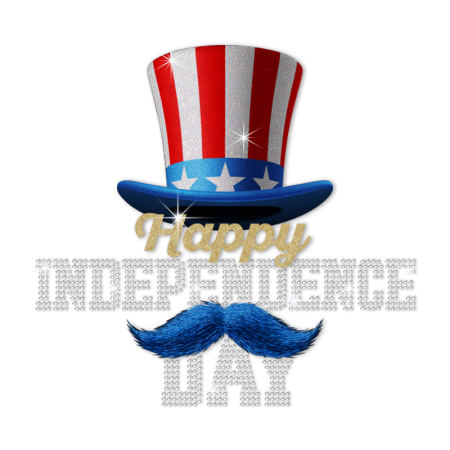 Glittering Happy Dependence Day Hat Heat Transfer