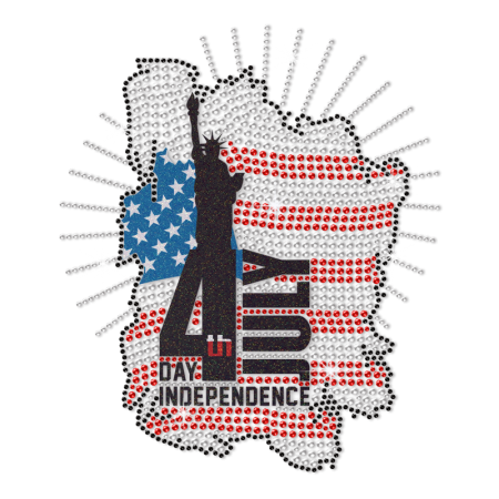 July 4th Heat Rhinestone Printable Glitter Heat Transfer