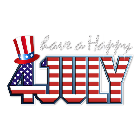 Printable Glitter Happy July 4th Heat Transfer
