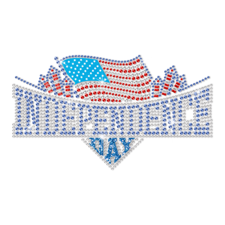 Flying American Flag Independence Day Heat Rhinestone Glitter Transfer Design