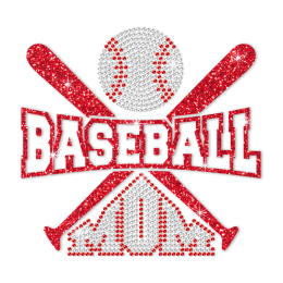 Baseball Mom Rhinestone Glitter Transfer Design