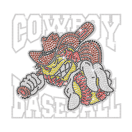Bling Cool Cowboy Baseball Hotfix Rhinestone Transfer
