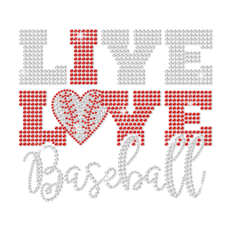 Bling Rhinestone Live Love Baseball Hotfix Transfer