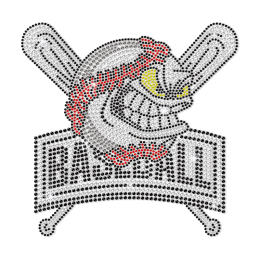 Black & White Baseball Emoji Iron on Rhinestone Transfer