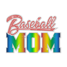 Rainbow Holofoil Baseball Mom Hotfix Rhinestone Transfer