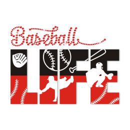 Baseball Life Hotfix Rhinestone Advanced PU Transfer