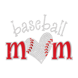 Bling Cheer Mom Baseball Love Hotfix Rhinestone Transfer