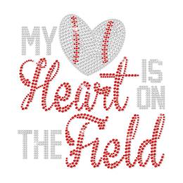 My Heart Is on the Field Heat Press Rhinestone Transfer