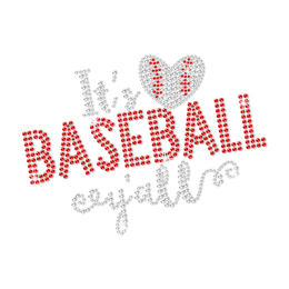 Crystal Baseball Heart Hotfix Rhinestone Transfer