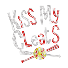 Kiss My Cleats Hotfix Rhinestone Transfer
