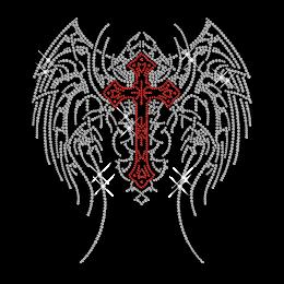 Crystal Ruby Wing Cross Iron on Rhinestone Motif