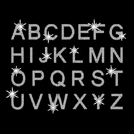 Hot-fix Cryatal Alphabet Rhinestone Motif