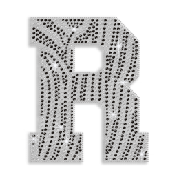 Crystal Letter R Rhinestone Hot Fix Pattern