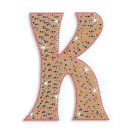 Bling Capital Letter K Rhinestone Iron on Transfer