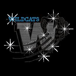 Capital W Wildcats Iron-on Nailhead Rhinestone Transfer