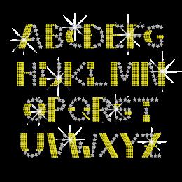 Bling English Alphabets Iron-on Nailhead Rhinestone Transfer