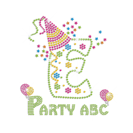 Lovely Party ABC Iron-on Rhinestone Transfer for Kids