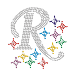Crystal R Surrounded with Colorful Stars Iron on Rhinestone Transfer
