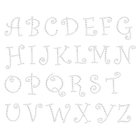 Iron on Lovely Alphabet Rhinestone Pattern