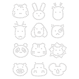 Hotfix Crystal Animal Head Rhinestone Transfer