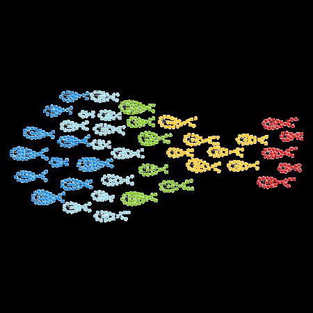 A School of Colorful Fish Hot-fix Rhinestone Motif