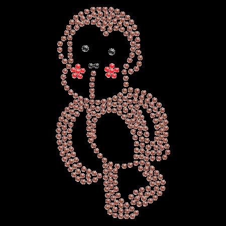 Nailhead Brown Monkey Iron on Motif