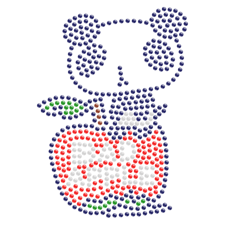 Panda on the Apple Hotfix Rhinestone Motif